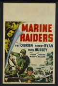 "Movie Posters:War, Marine Raiders (RKO, 1944). Window Card (14"" X 22""). War. StarringPat O'Brien, Robert Ryan, Ruth Hussey and Frank McHugh. D..."