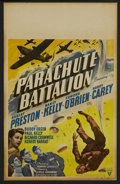 "Movie Posters:War, Parachute Battalion (RKO, 1941). Window Card (14"" X 22""). War.Starring Robert Preston, Nancy Kelly, Edmond O'Brien, Harry C..."