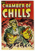 Golden Age (1938-1955):Horror, Chamber of Chills #25 (Harvey, 1954) Condition: FN-. White pages.Overstreet 2006 FN 6.0 value = $51. From the John McLaug...