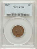 Indian Cents: , 1867 1C VF30 PCGS. PCGS Population (22/381). NGC Census: (14/391). Mintage: 9,821,000. Numismedia Wsl. Price for problem fr...