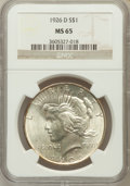 Peace Dollars: , 1926-D $1 MS65 NGC. NGC Census: (488/104). PCGS Population(655/182). Mintage: 2,348,700. Numismedia Wsl. Price for problem...