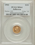 Commemorative Gold: , 1903 G$1 Louisiana Purchase/Jefferson MS64 PCGS. PCGS Population(937/1311). NGC Census: (586/962). Mintage: 17,500. Numism...