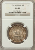 Commemorative Silver: , 1936 50C Norfolk MS66 NGC. NGC Census: (1074/720). PCGS Population(1613/1142). Mintage: 16,936. Numismedia Wsl. Price for ...