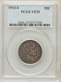 Barber Quarters: , 1913-S 25C VF35 PCGS. PCGS Population (4/82). NGC Census: (0/44).Mintage: 40,000. Numismedia Wsl. Price for problem free N...