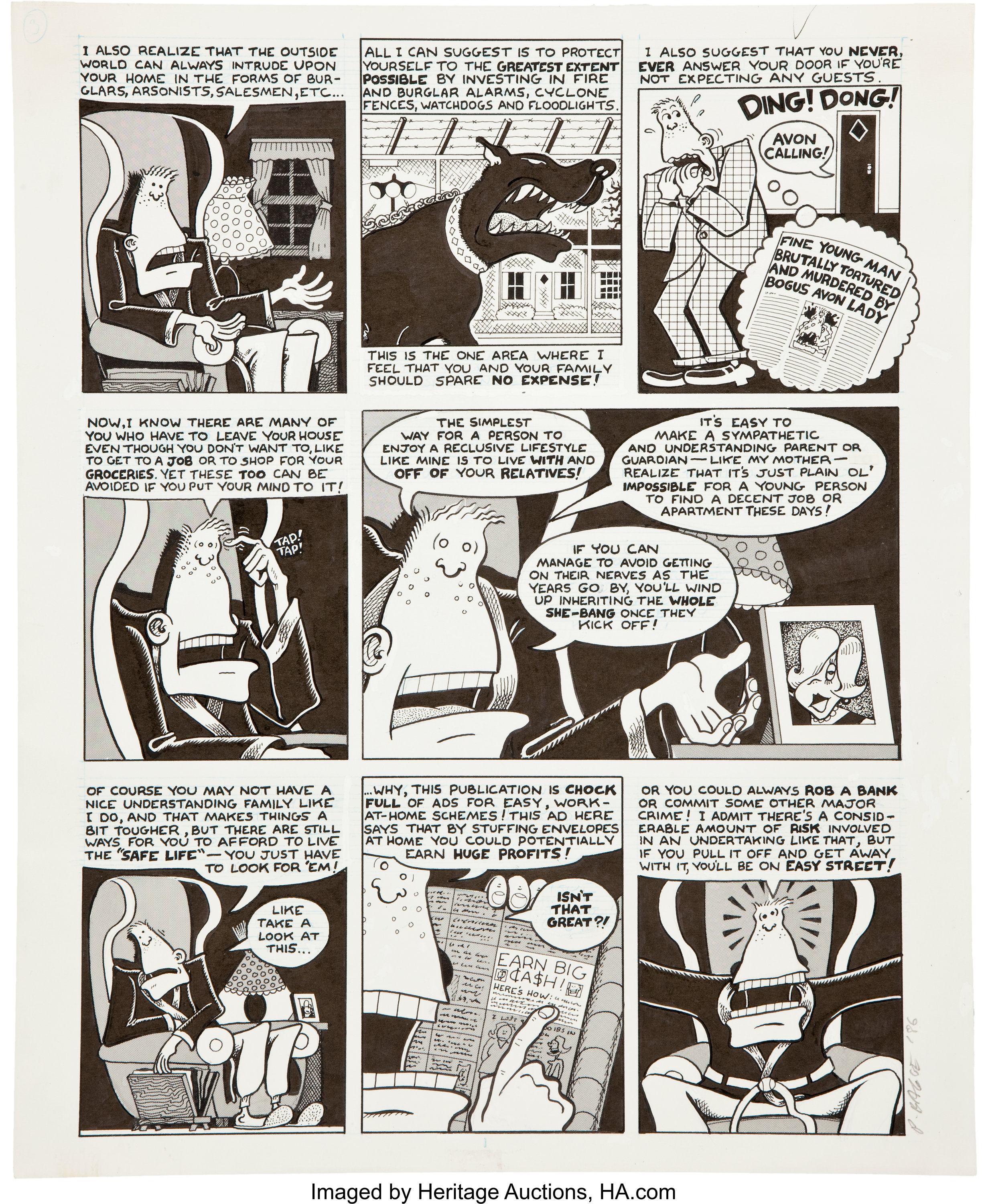 Peter Bagge Neat Stuff #7 Page 3 Original Art (Fantagraphics