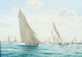 Maritime:Paintings, ROY CROSS (British, b. 1924). America's Cup, 1887. Oil oncanvas. 16 x 22 inches (40.6 x 55.9 cm). THE MBNA COLLECTION...