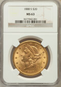 Liberty Double Eagles: , 1888-S $20 MS63 NGC. NGC Census: (182/32). PCGS Population(345/45). Mintage: 859,600. Numismedia Wsl. Price for problem fr...