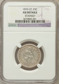 Seated Quarters, 1876-CC 25C -- Stained -- NGC Details. AU. NGC Census: (8/207).PCGS Population (13/214). Mintage: 4,944,000. Numismedi...