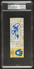 Baseball Collectibles:Tickets, 1992 Robin Yount Milwaukee Brewers 3,000th Hit Full TicketAutograph Graded PSA/DNA Gem Mint 10. ...