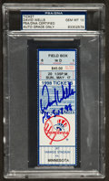 Baseball Collectibles:Tickets, 1998 David Wells New York Yankees Signed Perfect Game TicketPSA/DNA Autograph Graded Gem Mint 10. ...