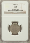 Liberty Nickels: , 1886 5C AG3 NGC. NGC Census: (0/462). PCGS Population (78/790).Mintage: 3,330,290. (#3847)...