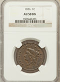 Large Cents: , 1836 1C AU58 NGC. NGC Census: (28/94). PCGS Population (22/54).Mintage: 2,111,000. Numismedia Wsl. Price for problem free ...