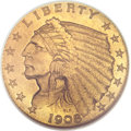 Proof Indian Quarter Eagles, 1908 $2 1/2 PR65 NGC. CAC....