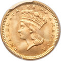 Gold Dollars, 1861 G$1 MS66+ PCGS. CAC....