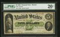 Large Size:Demand Notes, Fr. 3 $5 1861 Demand Note PMG Very Fine 20 Net.. ...