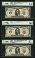 Small Size:World War II Emergency Notes, Three Consecutive Fr. 2302 $5 1934A Hawaii Federal Reserve Notes. PMG Choice Uncirculated 63 EPQ.. ... (Total: 3 notes)