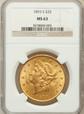 Liberty Double Eagles: , 1893-S $20 MS63 NGC. NGC Census: (273/24). PCGS Population(490/41). Mintage: 996,175. Numismedia Wsl. Price for problem fr...