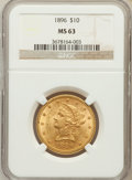 Liberty Eagles: , 1896 $10 MS63 NGC. NGC Census: (210/19). PCGS Population (130/9).Mintage: 76,200. Numismedia Wsl. Price for problem free N...
