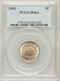 Shield Nickels: , 1868 5C MS64 PCGS. PCGS Population (236/97). NGC Census: (252/161).Mintage: 28,800,000. Numismedia Wsl. Price for problem ...