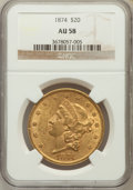Liberty Double Eagles: , 1874 $20 AU58 NGC. NGC Census: (419/264). PCGS Population(105/197). Mintage: 366,800. Numismedia Wsl. Price for problemfr...