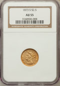 Liberty Quarter Eagles: , 1873-S $2 1/2 AU55 NGC. NGC Census: (41/70). PCGS Population(17/24). Mintage: 27,000. Numismedia Wsl. Price for problem fr...