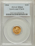 Commemorative Gold: , 1904 G$1 Lewis and Clark MS64 PCGS. PCGS Population (624/428). NGCCensus: (414/310). Mintage: 10,025. Numismedia Wsl. Pric...