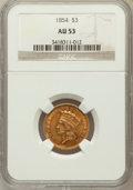 Three Dollar Gold Pieces: , 1854 $3 AU53 NGC. NGC Census: (338/2775). PCGS Population(377/1738). Mintage: 138,618. Numismedia Wsl. Price for problemf...
