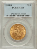 Liberty Eagles: , 1898-S $10 MS63 PCGS. PCGS Population (35/9). NGC Census: (20/3).Mintage: 473,600. Numismedia Wsl. Price for problem free ...