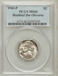 Jefferson Nickels: , 1943-P 5C Doubled Die Obverse MS66 PCGS. PCGS Population (52/0).NGC Census: (0/0). (#4174)...