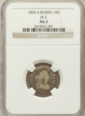Early Dimes: , 1805 10C 4 Berries AG3 NGC. JR-2. NGC Census: (0/256). PCGSPopulation (20/355). Mintage: 120,780. Numismedia Wsl. Price f...