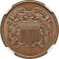 Two Cent Pieces: , 1865 2C MS65 Brown NGC. NGC Census: (361/43). PCGS Population(36/4). Mintage: 13,640,000. Numismedia Wsl. Price for proble...