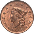 Large Cents, 1818 1C MS65 Red and Brown NGC. N-10, R.1....