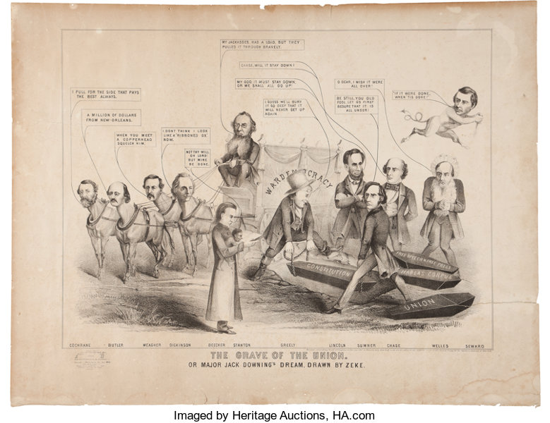 Abraham Lincoln Large Anti Lincoln Cartoon From 1864 Political