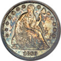 Seated Half Dimes, 1860 H10C Transitional MS64 NGC. Judd-267, Pollock-315, R.4....