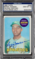 Autographs:Sports Cards, Signed 1969 Topps Reggie Jackson #260 PSA/DNA Gem Mint 10....
