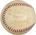 Autographs:Baseballs, 1949 Ty Cobb Single Signed Baseball....