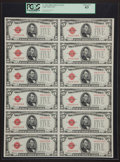 Small Size:Legal Tender Notes, Fr. 1530 $5 1928E Legal Tender Notes. Uncut Sheet of Twelve. PCGS Choice New 63.. ...