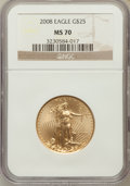 Modern Bullion Coins, 2008 $25 1/2 Oz Gold Eagle MS70 NGC. NGC Census: (1723). PCGSPopulation (0)....