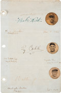Autographs:Others, 1926-27 Babe Ruth, Ty Cobb & Walter Johnson Signed Album Page....