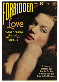 """Forbidden Love #1 (Quality, 1950) Condition: FN+. Classic photo cover and Reed Crandall art. Overstreet lists as """"s..."""