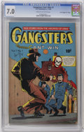 "Golden Age (1938-1955):Crime, Gangsters Can't Win #1 Davis Crippen (""D"" Copy) pedigree (D.S. Publishing, 1948) CGC FN/VF 7.0 Cream to off-white pages. Tru..."