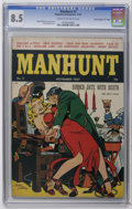 "Golden Age (1938-1955):Crime, Manhunt #2 Davis Crippen (""D"" Copy) pedigree (Magazine Enterprises, 1947) CGC VF+ 8.5 Cream to off-white pages. Electrocutio..."