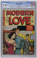 "Golden Age (1938-1955):Romance, Modern Love #8 Davis Crippen (""D"" Copy) pedigree (EC, 1950) CGCFN/VF 7.0 Off-white pages. Last issue of the title. Comic-in..."