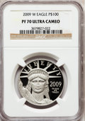 Modern Bullion Coins, 2009-W $100 One-Ounce Platinum Eagle PR70 Ultra Cameo NGC. NGCCensus: (0). PCGS Population (121). (#404476)...