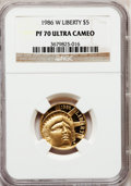 Modern Issues: , 1986-W G$5 Statue of Liberty Gold Five Dollar PR70 Ultra Cameo NGC.NGC Census: (1). PCGS Population (606). Mintage: 404,01...