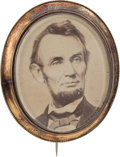 Political:Ferrotypes / Photo Badges (pre-1896), Abraham Lincoln: Oversized Memorial Brooch....