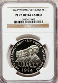 Modern Issues: , 1994-P $1 Women Veterans Silver Dollar PR70 Ultra Cameo NGC. NGCCensus: (17). PCGS Population (6). Mintage: 213,201. Numis...