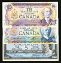 Canadian Currency: , BC-39a $5 1954;. BC-48b $5 1972;. BC-49b $10 1971. ... (Total: 3notes)