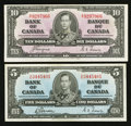 Canadian Currency: , BC-23b $5 1937. BC-24c $10 1937.. ... (Total: 2 notes)