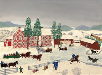 GRANDMA MOSES (American, 1860-1961) The Old Checkered House in Cambridge Valley, 1943 Oil on masonit